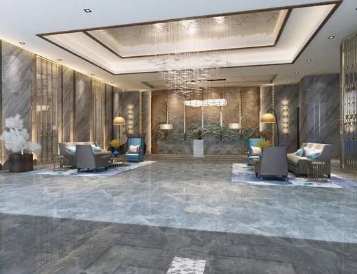 新中式, 大厅, 前台, 沙发, 茶几, 吊灯, 落地灯, 花瓶, 1000套空间酷赠送模型