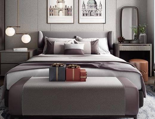 床具组合, 双人床, 壁画, 床尾塌, 床头柜, 吊灯, 椅子, 置物柜, 现代