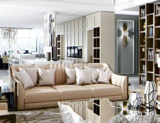 现代客厅, 多人沙发, 茶几, 置物柜, 台灯, 边几, 吊灯, 桌子, 椅子, 现代