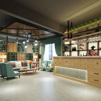 现代咖啡厅, 椅子, 吊灯, 置物柜, 桌子, 现代