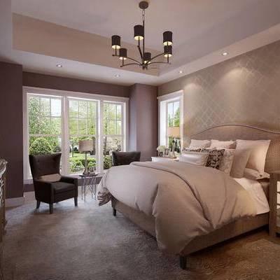 现代卧室, 吊灯, 双人床, 边柜, 台灯, 沙发单椅, 边几, 相框, 床头柜, 现代