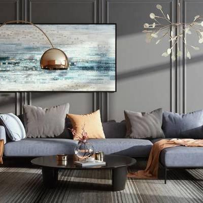 现代简约, 沙发茶几组合, 吊灯, 落地灯, 现代, 下得乐3888套模型合辑