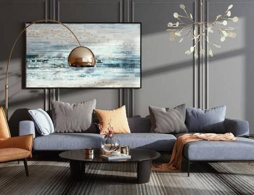 现代简约, 沙发茶几组合, 吊灯, 落地灯