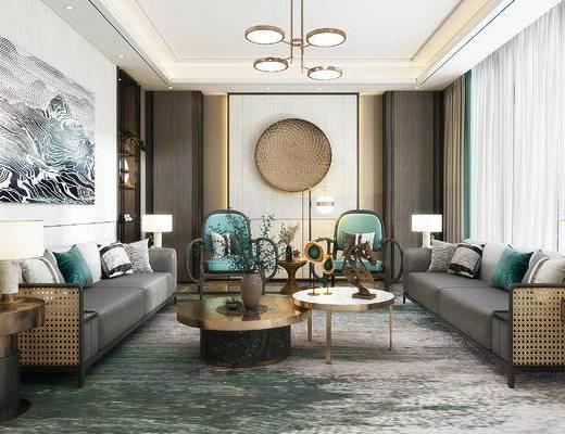 沙发组合, 茶几, 吊灯, 墙饰, 装饰画