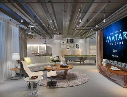 现代娱乐室, 多人沙发, 边几, 台灯, 茶几, 沙发脚踏, 电视柜, 桌子, 壁画, 现代