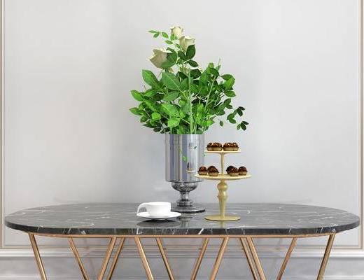摆件组合, 桌子, 花瓶, 简欧