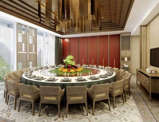新中式, 包间, 餐桌, 餐具, 椅子, 吊灯, 电视柜