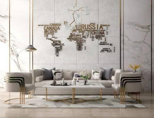 沙发组合, 茶几, 椅子, 壁画, 吊灯, 落地灯, 后现代