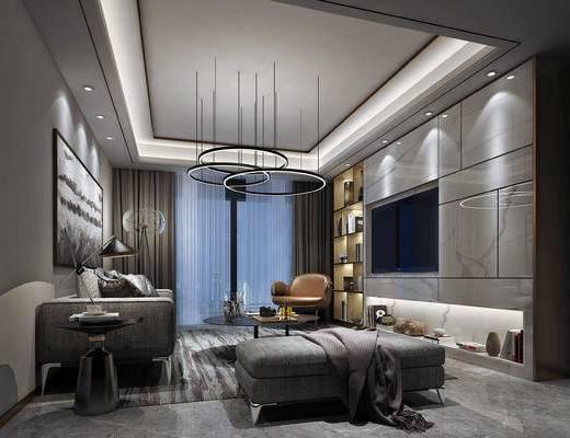 现代客厅, 壁画, 吊灯, 多人沙发, 茶几, 沙发躺椅, 椅子, 置物柜, 边几, 现代
