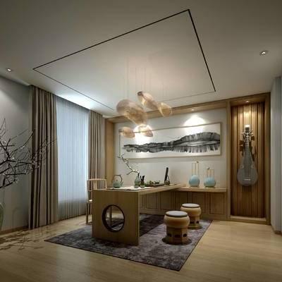 茶室, 吊灯, 桌子, 椅子, 盆栽, 壁画, 地毯, 新中式