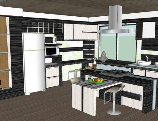 现代厨房, 厨房, 厨房橱柜