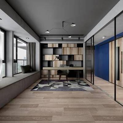现代书房, 吊灯, 桌子, 椅子, 地毯, 现代