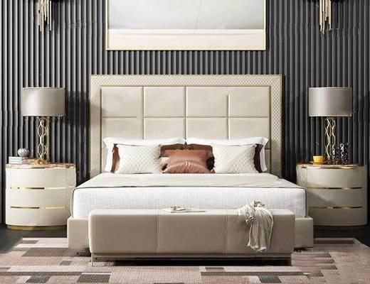 现代简约, 壁灯, 床头柜, 床具组合