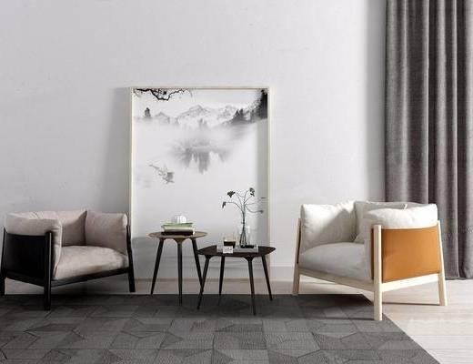 现代简约, 沙发茶几组合, 装饰画, 现代, 北欧