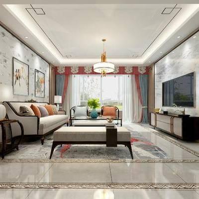 中式客厅, 电视柜, 多人沙发, 边几, 壁画, 吊灯, 台灯, 茶几, 沙发躺椅, 中式