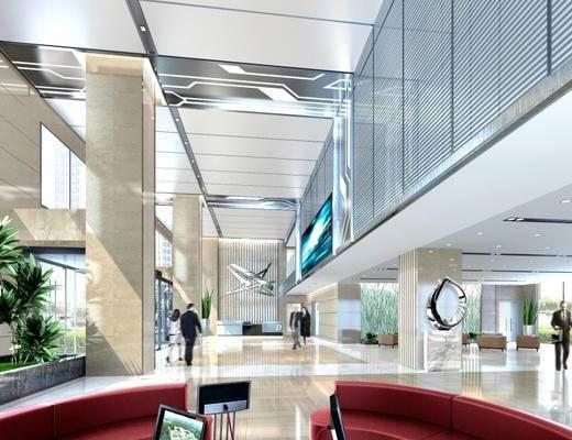 现代简约, 办公室, 大堂, 沙发, 1000套空间酷赠送模型