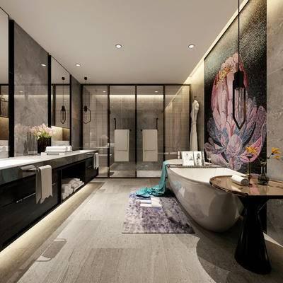 后现代, 浴缸, 洗手台, 镜子, 吊灯, 盆栽, 毛巾, 浴巾