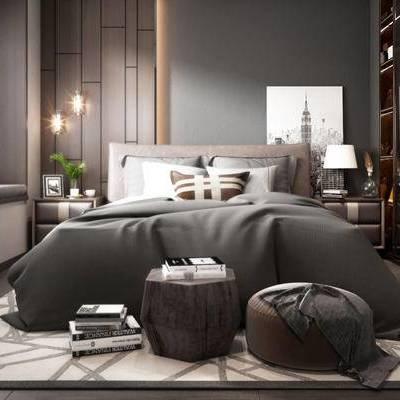 现代卧室, 双人床, 沙发凳, 床头柜, 吊灯, 壁画, 地毯, 现代