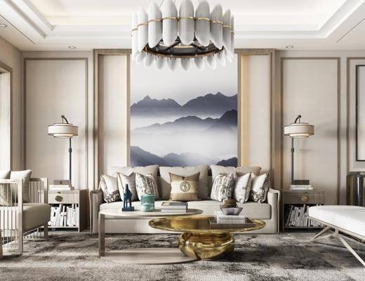 新中式, 沙发, 茶几, 吊灯, 挂画, 装饰画, 落地灯, 边柜, 边几, 摆件