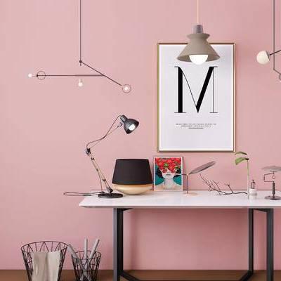 摆件组合, 桌子, 台灯, 壁画, 吊灯, 北欧
