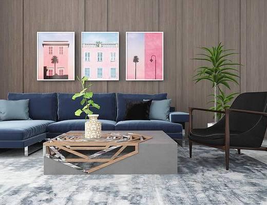 沙发组合, 现代沙发, 沙发茶几组合