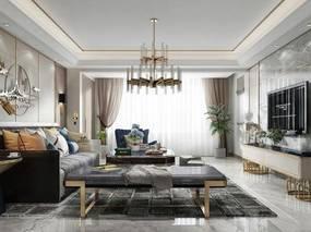 现代, 客厅, 沙发, 吊灯, 茶几, 墙饰, 电视柜, 摆件, 边几