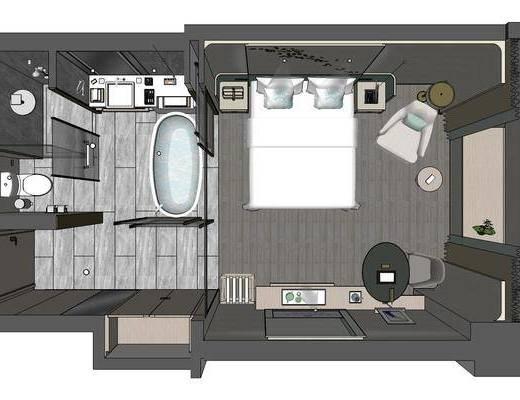 酒店客房, 客房, 双人床