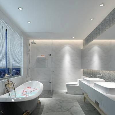 卫浴, 洗手台, 马桶, 浴缸, 淋浴间, 花瓶, 现代