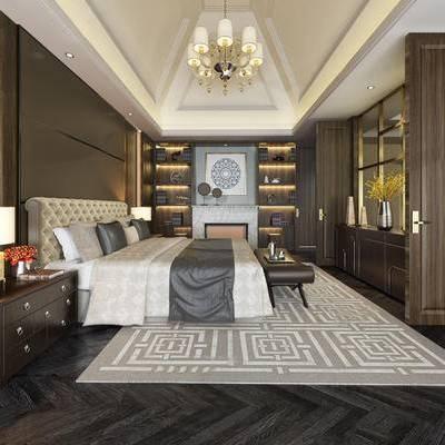 简欧卧室, 吊灯, 双人床, 床头柜, 台灯, 置物柜, 床尾塌, 简欧