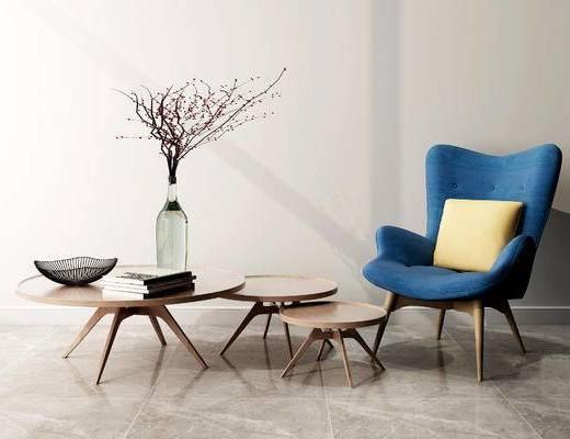单人沙发, 茶几, 现代