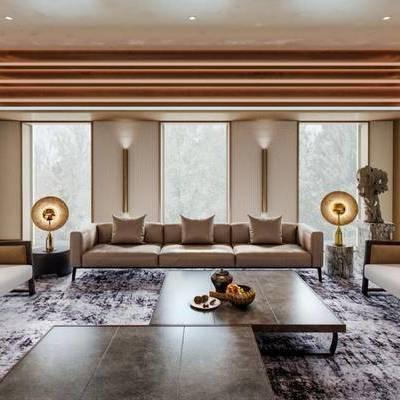 现代客厅, 桌子, 椅子, 多人沙发, 茶几, 边几, 置物柜, 现代