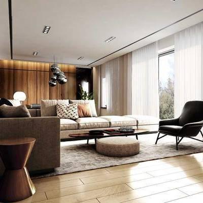 现代客餐厅, 现代客厅, 沙发组合, 布艺沙发, 椅子, 茶几, 吊灯