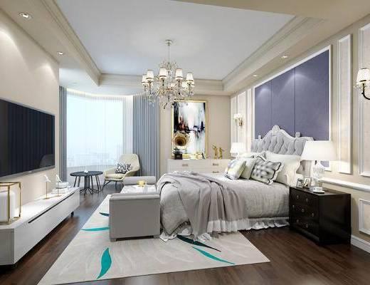简欧, 卧室, 床, 吊灯, 壁灯, 电视柜, 边柜, 床头柜, 台灯, 1000套空间酷赠送模型