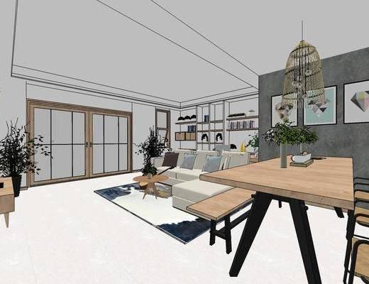 现代客厅餐厅, 客厅餐厅