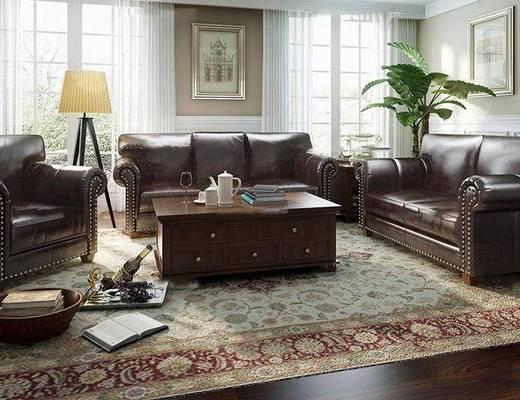 沙发组合, 沙发茶几组合, 植物, 落地灯, 茶具, 美式