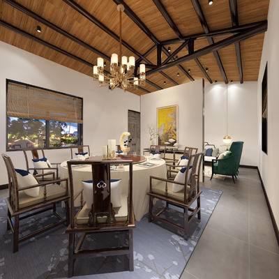 中式包间, 吊灯, 桌子, 椅子, 壁画, 单人沙发, 边几, 地毯, 中式