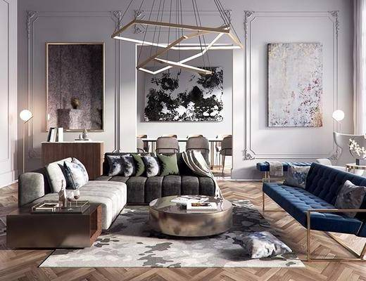 后现代客厅, 双人沙发, 茶几, 沙发椅, 挂画, 吊灯, 绿植, 后现代