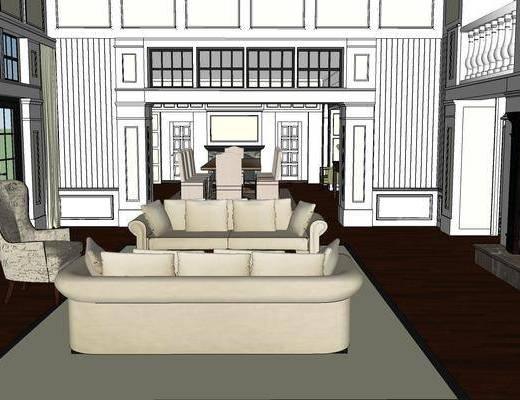 欧式客厅, 客厅餐厅, 客厅