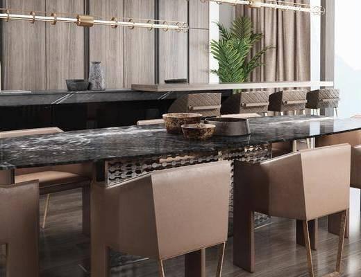 现代餐厅, 桌子, 椅子, 吊灯, 吧台, 吧椅, 现代