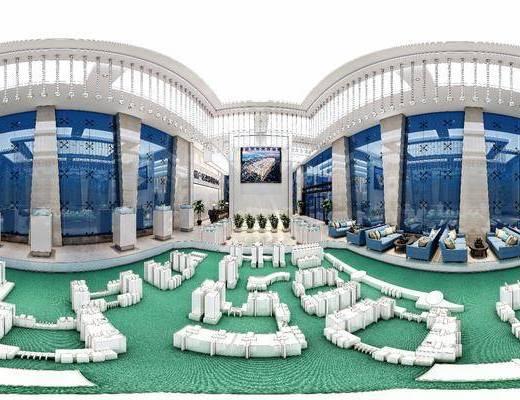 现代售楼处, 沙盘, 多人沙发, 前台, 台灯, 现代