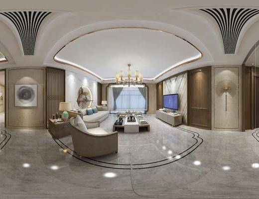 新中式客餐厅, 新中式桌椅组合, 吊灯, 壁画, 边柜, 台灯, 沙发躺椅, 沙发单椅, 桌椅组合, 储物柜, 电视柜, 盆栽, 新中式