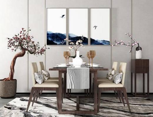 桌椅组合, 桌子, 椅子, 边几, 壁画, 花瓶, 盆栽, 新中式