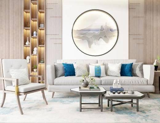 沙发组合, 茶几, 双人沙发, 置物柜, 壁画, 椅子, 中式
