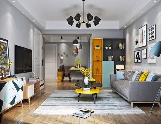 现代客厅, 多人沙发, 落地灯, 电视柜, 壁画, 置物柜, 台灯, 茶几, 现代