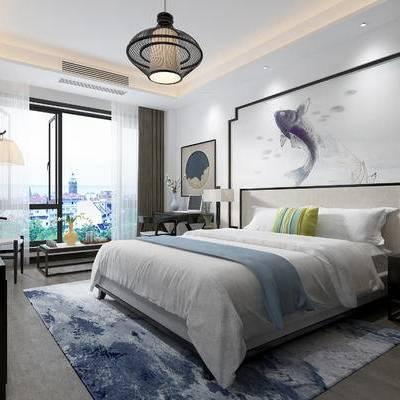 现代卧室, 双人床, 壁画, 吊灯, 边几, 柜子, 落地灯, 桌椅组合, 台灯, 椅子, 相框, 地毯, 现代
