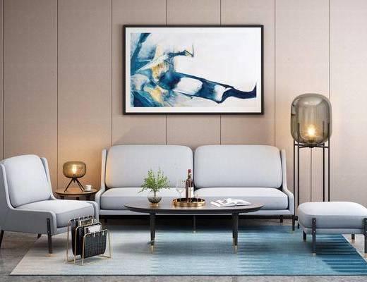 现代简约, 沙发茶几组合, 落地灯, 陈设品