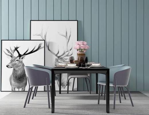单椅, 餐桌, 壁画, 花瓶, 北欧