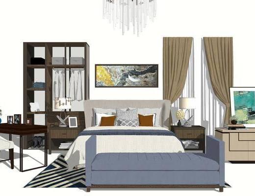 床具組合, 雙人床, 床尾塌, 置物柜, 床頭柜, 臺燈, 桌子, 壁畫, 現代