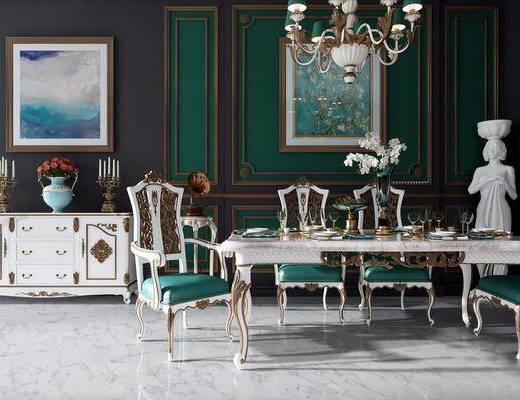 美式古典, 吊灯, 桌椅组合, 柜台组合, 餐具组合