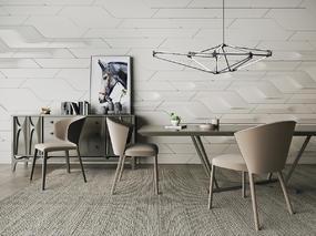 北欧简约, 餐桌椅组合, 吊灯, 边柜, 陈设品组合